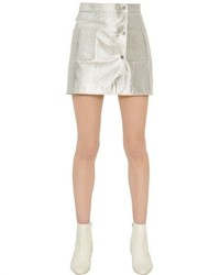 Minifalda de cuero plateada