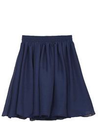 Minifalda de gasa plisada azul marino