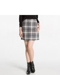 Minifalda de lana a cuadros gris