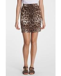 Minifalda de Leopardo Marrón Claro de Dolce & Gabbana