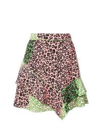 Minifalda de leopardo rosada de Derek Lam 10 Crosby