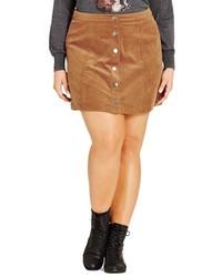 Minifalda en tabaco de City Chic