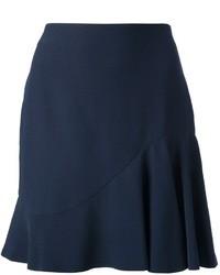 Minifalda plisada azul marino de Alexander McQueen