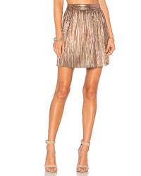 Minifalda plisada dorada