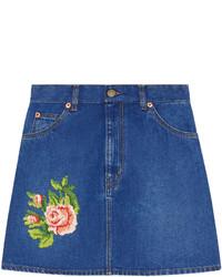 Minifalda vaquera bordada azul de Gucci