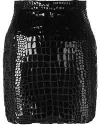 Minijupe en soie noire Saint Laurent
