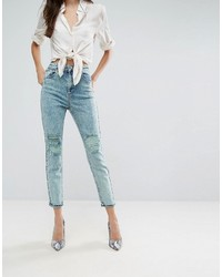 Asos Farleigh High Waist Slim Mom Jeans In Acid Wash Mint With Busted Knees