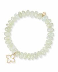 10mm prenite beaded bracelet w14k gold diamond flower charm medium 791834