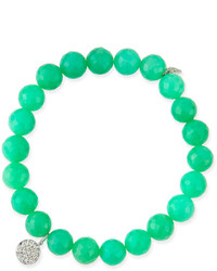 Sydney Evan 8mm Chrysoprase Beaded Bracelet With Diamond Disc Charm