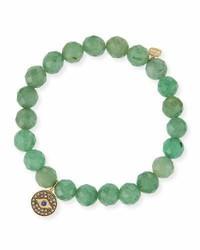 8mm faceted green beaded bracelet w14k gold diamond evil eye charm medium 791860