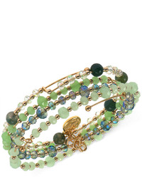Jones New York Gold Tone Mixed Green Bead Stretch Bracelet