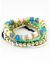 Green Bead Multilayers Bracelet