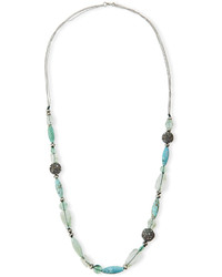 Long beaded single strand necklace green medium 822460