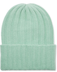 Short bunny echo ribbed cashmere beanie mint medium 4394064