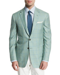 Windowpane wool blend sport coat light greenblue medium 572869