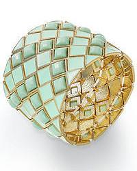 Bar Iii Gold Tone Mint Stone Stretch Bracelet