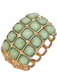 Blu Bijoux Gold And Mint Three Row Stretch Bangle Bracele