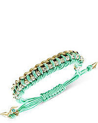 Rachel Roy Rachel Gold Tone Mint Wrapped Chain Slider Bracelet