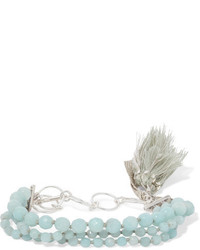 Tasseled silver amazonite bracelet mint medium 3747234