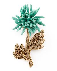 Oscar de la Renta Floral Brooch Aqua