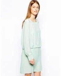 See by Chloe Silk Rouched Waist Long Sleeve Dress