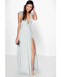 Boohoo Daisy Frill Wrap Detail Chiffon Maxi Dress