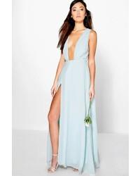 Boohoo Eloise Wrap Front Chiffon Maxi Dress