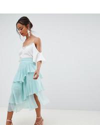 Mint Chiffon Midi Skirt