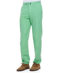 Incotex Chinolino Cottonlinen Trousers Apple Green