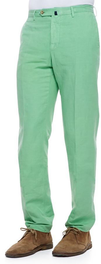Incotex Chinolino Cottonlinen Trousers Apple Green | Where to buy ...