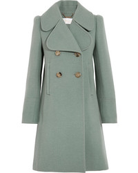 Chloé Double Breasted Wool Blend Felt Coat Green