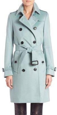 online sale kid united kingdom $2,595, Burberry London Kensington Dusty Mint Cashmere Trench Coat