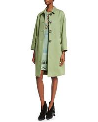 Burberry Prorsum Button Front Cashmere Caban Coat Apple Green