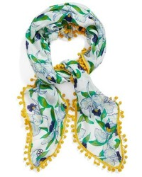 Tory Burch Pompom Trim Square Scarf
