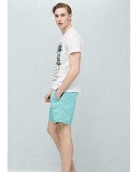 Mango Outlet Cotton Canvas Bermuda Shorts