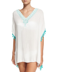 Bindya Pompom Trim Kimono Coverup Light Green