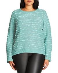 City Chic Plus Size Back Zip Color Pop Sweater