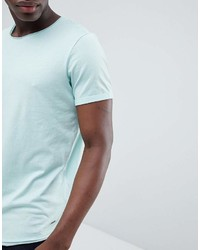 Esprit Longline T Shirt With Raw Curved Hem In Mint Green