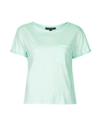 Topshop Petite Jersey Tee With Roll Sleeves And Pocket Detail 100% Cotton Machine Washable