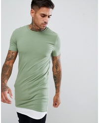 ASOS DESIGN Super Longline Muscle Fit T Shirt With Contrast Hem Extender In Green