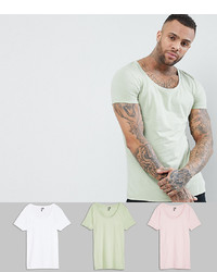 ASOS DESIGN T Shirt With Deep Scoop 3 Pack Save