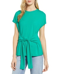 Halogen Wrap Detail Stretch Knit Top