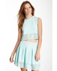 Gracia Laser Cut Trim Crop Tank