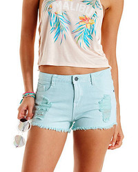 Charlotte Russe Colored Cut Off High Waisted Denim Shorts