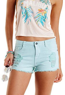 Charlotte Russe Colored Cut Off High Waisted Denim Shorts | Where ...