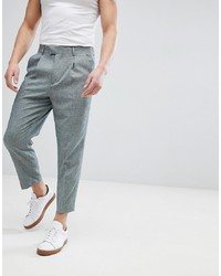 ASOS DESIGN Tapered Smart Trousers In Dark Green Cross Hatch Nepp