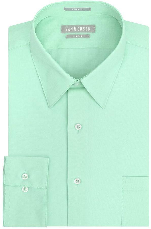 28b51166a95d ... Mint Dress Shirts Van Heusen Fitted Solid Poplin Point Collar Dress  Shirt ...