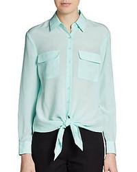Silk tie waist pocket blouse medium 125503