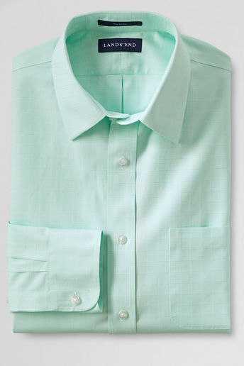 Lands' End Traditional Fit Straight Collar Textured No Iron Dress ...