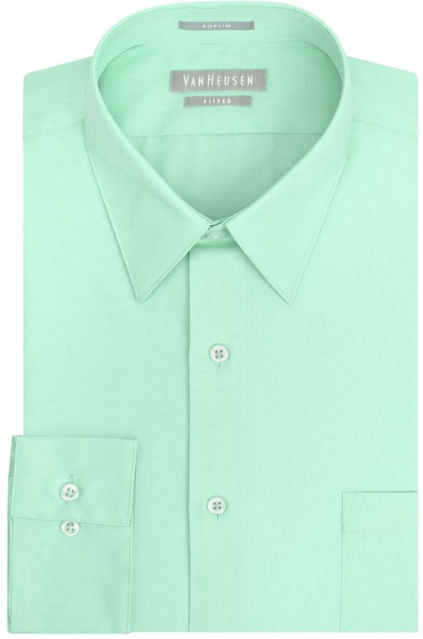 Van heusen fitted solid poplin point collar dress shirt for Where to buy a dress shirt